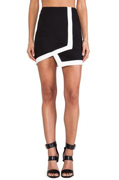 Bardot Nitro Asymmetrical Skirt in Black & White from REVOLVEclothing