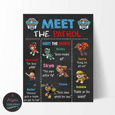 Paw Patrol 8x10 Meet the patrol sign. Print your own sign