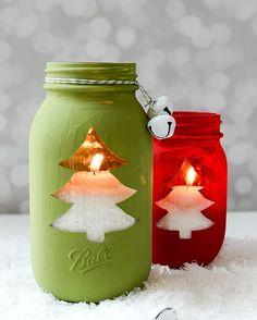 Christmas tree mason jar votive - Christmas tree cut out mason jar craft. Mason jar crafts for the holiday. Christmas tree candle. Includes full tutorial.