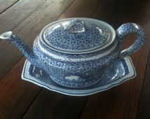 Antique French blue and white tea pot and dish circa 1900's / English Shop