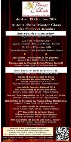Programme des concerts et animations de Pézenas Enchantée - Festival d'art lyrique et Master Class