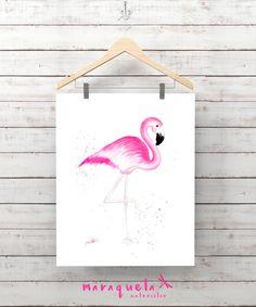 FLAMINGO Original WATERCOLOR hand-made home decor, gift baby, art nursery, art wall. Art prints animals, gift ideas for her, flamingo art. FLAMENCO en acuarela hecho a mano en acuarela. Lamina flamencos, Decoración salón, habitación bebé, ideas decor, regalo bebé, regalo mujer.