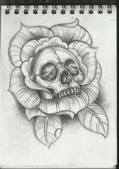 Skull in rose