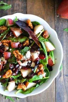 Pear & Walnut Salad with Dark Cherry Balsamic Vinaigrette