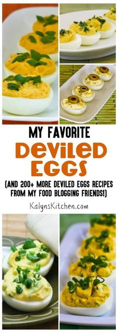 Here are all My Favorite Recipes for Deviled Eggs (and 200+ more deviled eggs recipes from my food blogging friends), so grab some boiled eggs and make deviled eggs!  [found on KalynsKitchen.com]