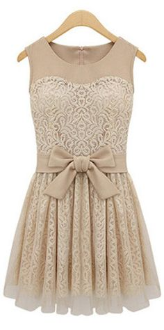 Nude Lace Bow Dress