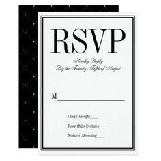 Simple and Elegant Wedding RSVP Card - formal speacial diy personalize style template