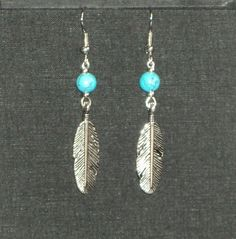 Eagle - Turquoise and Silver tone earrings