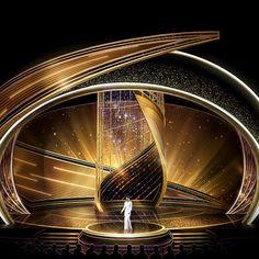 Jason Sherwood Designs 'Swirling Cyclone' Stage for Oscars Tv Set Design, Stage Set Design, Theatre Design, Visual Lighting, Stage Lighting Design, Concert Stage Design, Wedding Stage Design, Virtual Studio, Photo Wall Decor