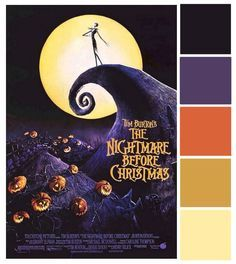 Poster Palette - Nightmare Before Christmas Christmas Palette, Christmas Colour Schemes, Christmas Colors, Disney Princess Colors, Disney Colors, Color Schemes Colour Palettes, Colour Pallette, Halloween Coloring, Halloween Art