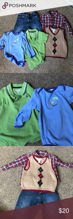 20% off bundles 🎈pieces boys clothing🌻 5 pieces of 12 month boy clothing 🍭 Kennith Cole Reaction jeans🍭Osh Kosh B'Gosh light green collared onesie. Small frog on right side 🍭Baby Gap long sleeve blue onesie. Minor staining. See pic 4🍭 Gymboree 12/18 month plaid button up collared shirt🍭Janie and Jack 6/12 month argyle sweater vest Shirts & Tops