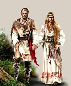 Slavic - the Vikings were known to raid into these areas - therefore mixing some cultures * Viking Garb, Viking Dress, Larp, Moda Medieval, Costume Ethnique, Eslava, Viking Wedding, Viking Clothing, Norse Vikings