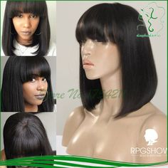 Find More Human Wigs Information about 100% Brazilian Virgin Full Lace Wig Glueless Human Hair Lace Front Bob Wig With Bangs with bleached knots For Black Women,High Quality wig white,China hair flat iron ceramic Suppliers, Cheap hair match from QD Dinghao Hair Products CO.,LTD on Aliexpress.com
