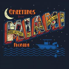 Greetings from Miami (Dexter) by Bamboota - I love all the details in this illustration. Especially the boat with Dexter dropping the bags at the bottom. Florida, Tonight Alive, Dexter Morgan, Hbo Series, Photo Postcards, Cool T Shirts, Nerdy, Pop Culture, Comic Con