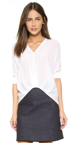 alice + olivia Beccy Short Sleeve Collared Drape Blouse | SHOPBOP