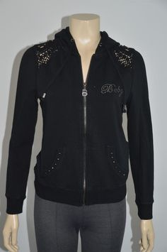 BCBG Max Azria Black Cotton Blend Hooded Women's Jacket Size M On Sale  #BCBGMAXAZRIA #BasicJacket