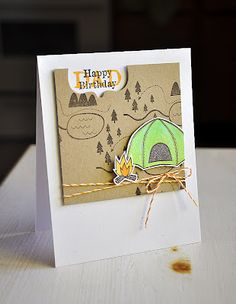Camping bday card.  Love the cut out for the sentiment.  #papertrey