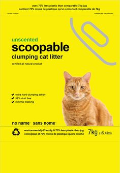 no name/ sans nome. New packaging design for their scoopable cat litter. - New Design Group Inc. Clumping Cat Litter, No Name, Case Study, Packaging Design, Names, Group, Plastic, Design Packaging