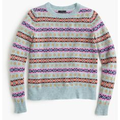 J.Crew Petite Fair Isle Crewneck Sweater ($120) ❤ liked on Polyvore featuring tops, sweaters, petite, wool crew neck sweater, wool crewneck sweater, petite sweaters, j crew sweaters and blue top