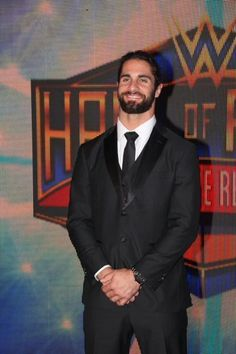 WWE Superstar Seth Rollins (Colby Lopez) arriving on the red carpet ahead of the 2018 WWE Hall of Fame Induction Ceremony at the Smoothie King Center in New Orleans, Louisiana. His date for the event was his girlfriend Sarah Alesandrelli. Wwe Seth Rollins, Seth Freakin Rollins, Wwe Couples, Best Wrestlers, Burn It Down, Wwe Champions, Smile Photo, Wrestling Wwe, Aj Styles