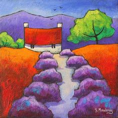 """The Fragrant Path. Acrylic on canvas board. 8x8"""" £40. SOLD. art,painting,acrylic,cottage,house,lavender"""
