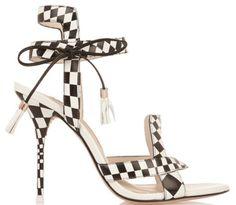 Sandales à talons à bride en cuir à carreaux noir et blanc, Sophia Webster