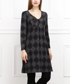 This Charcoal Argyle Button-Front Dress is perfect! #zulilyfinds