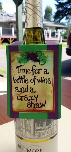 Wine bottle tagfunny wine quote. Wine tag is by CountryCraftersUSA, $4.00