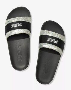 Glitter Slides, Glitter Sandals, Pink Sandals, Cute Sandals, Vs Pink Slides, Cute Slides, Mehndi Designs 2018, Bath And Body Works Perfume, Pink Accessories