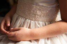 Beautiful beaded detail on this flower girl's dress.