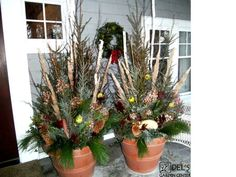 Spruce Tip Pots | Minnesota. Make the spruce tip arrangement in soil in a drop in pot ...