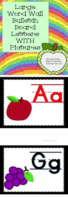 Large Word Wall Bulletin Board Letters WITH Pictures.  Consonants are black lettering WITH writing lines.  Vowels are read lettering WITH writing lines.  These bulletin board letters are particularly beneficial for students in grades pre-k through second. They provide a visual cue for the letter and the sound that the letter makes. Simply print and then cut the top, bottom, and sides of each letter and laminate for durability.