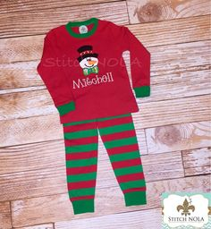 PRE-ORDERChristmas Pajamas with Snowman Applique - pinned by pin4etsy.com