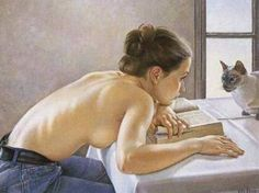 Michael Sowa - nice painting ..dreaming with your cat