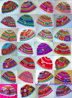 Crochet Hats  - Makes me happy just looking at them!