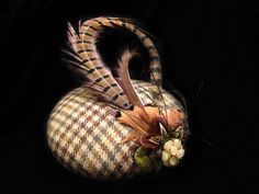 Pheasant feathered and Brown Plaid fascinator perfect for weddings & events small pillbox hat /cap