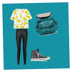 """Going bananas over you "" by gymdancemb ❤ liked on Polyvore featuring McQ by Alexander McQueen, Converse and Hadaki"