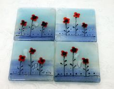 Coaster set  Red Poppies in Calm Aqua blue by virtulyglass on Etsy, $35.00