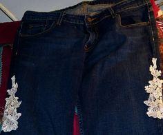 Appliqued jeans on eBay