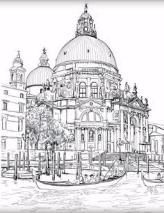 """""""Venice Coloring Book for Adults"""" is an original coloring book for adults and smart children. Relax, grab your pencils and color famous landmarks from the romantic city of Venice, Italy. Featuring beautiful detailed sketches of landmarks from Venic. Flower Coloring Pages, Mandala Coloring, Coloring Book Pages, Coloring Sheets, Renaissance Architecture, Christmas Coloring Pages, Mandala Art, Colorful Pictures, Line Art"""