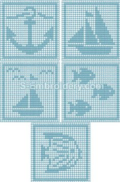 Freestanding lace crochet square machine embroidery designs ~ **These squares will make great plastic canvas coasters** Marine free standing lace crochet squares Freestanding lace crochet square machine embroidery designs Pass rope around th Crochet Squares, Crochet Blanket Patterns, Baby Knitting Patterns, Crochet Ideas, Bobble Crochet, Crochet Granny, Filet Crochet Charts, Knitting Charts, Crochet Stitches