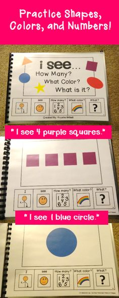 I see... Shapes Adapted Book. Practice shapes, colors and numbers. Fun, hands on learning!