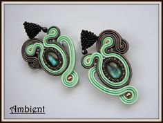 Ambient soutache earrings with labradorites