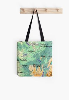 'topographic map of FRANCE with Major cities and Rivers Biscay Green background physical relief map of France' Tote Bag by mashmosh Large Bags, Small Bags, Cotton Tote Bags, Reusable Tote Bags, France Map, Clermont, Limoges, Rhone, Topographic Map