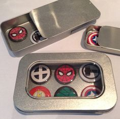 Marvel Comic Hero Fridge Magnets in Gift Tin Incl Spider Man Man Cave Garage, Tin Gifts, Stocking Fillers, Infinity War, Small Gifts, Gifts For Him, Marvel Comics, I Shop, Magnets