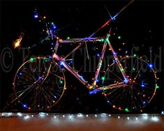 Light Up My Bike, Fine Art Photography, 8 x 10, Christmas Lights, Multicolored Home Decor, Fun Bicycle, Sparkling Wall Decor, Twinkle Lights