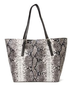 Another great find on #zulily! Black & Gray Snakeskin Tote by Gianni Venini #zulilyfinds