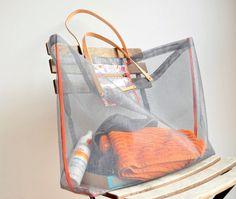 diy beach bag made from window screen material.