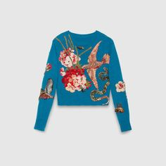 Embroidered wool knit top