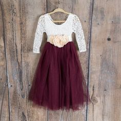 White Lace Flower Girl Dress, Wine Burgundy Maroon Long Sleeve Wedding dress, Ball Gown, Bohemian Boho Chic, will you be my flower girl - Vestido de baile - Ball Dresses, Nice Dresses, Ball Gowns, Girls Dresses, Evening Dresses, Dresses Uk, Dresses Online, Lace Flower Girls, Flower Girl Dresses Country